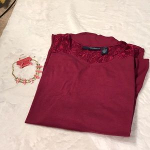 Denim 24/7 Tops - Maroon swing blouse with sheer buttom